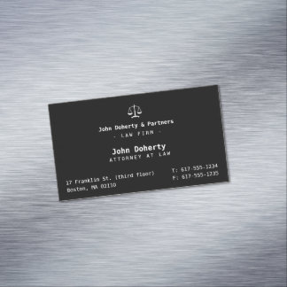 Elegant Attorney at Law   Law Firm Magnetic Business Card
