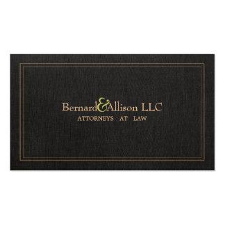 Elegant Attorney Faux Black Linen Business Card