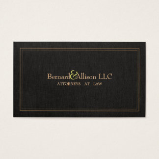 Elegant Attorney Faux Black Linen Business Card