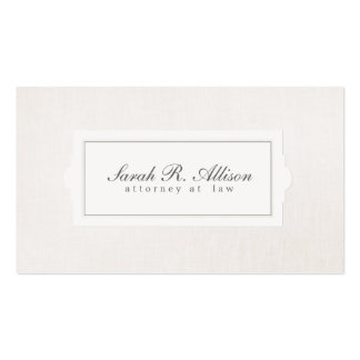 Elegant Attorney Plaque Style Beige Linen Business Card Template