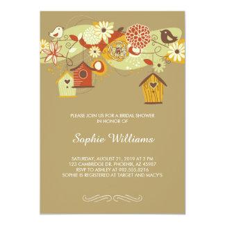 Elegant Autumn Birdhouses Bridal Shower 13 Cm X 18 Cm Invitation Card