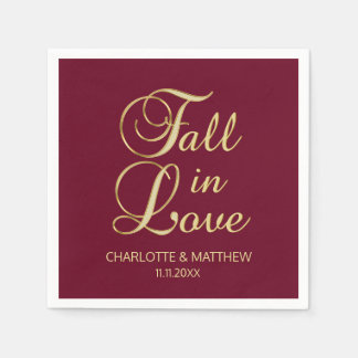 Elegant Autumn Fall in Love Burgundy Wedding Paper Napkin