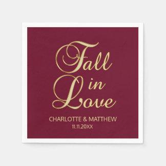 Elegant Autumn Fall in Love Burgundy Wedding Paper Napkins