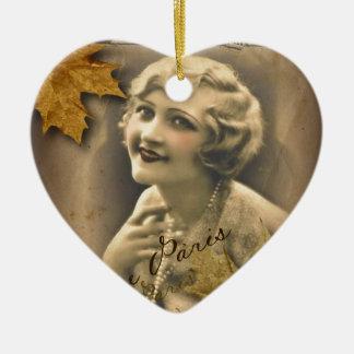 elegant autumn leaves scripts paris Vintagebeauty Ceramic Heart Decoration