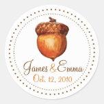 Elegant Autumnal Acorn Personalised Stickers