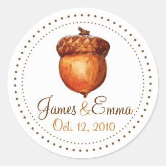 Elegant Autumnal Acorn Personalized Stickers