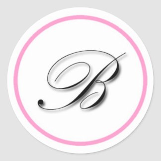 "Elegant ""B"" monogram sticker: Pink and black Round Sticker"