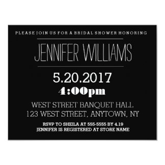 Elegant B&W bridal shower invitations