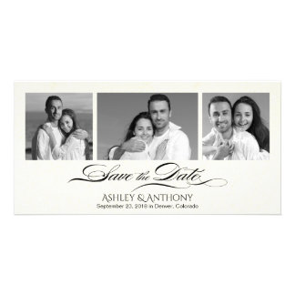 Elegant B&W Photo Collage Wedding Save the Date Picture Card