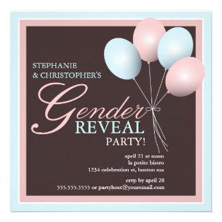 Elegant Baby Balloon Gender Reveal Invitation