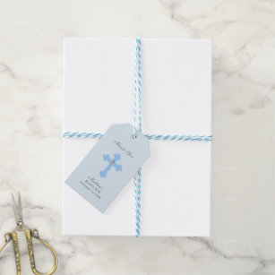 Gift tags gift enclosures zazzle elegant baby blue cross baptismchristening boy gift tags negle Image collections