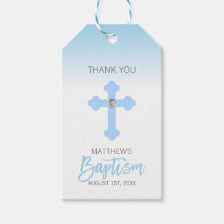 Elegant Baby Blue Cross THANK YOU Baptism Boy Gift Tags