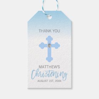 Elegant Baby Blue Cross THANK YOU Christening Boy Gift Tags