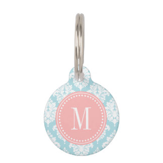 Elegant Baby Blue Damask Personalized Pet ID Tag