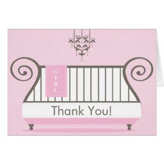 Elegant Baby Crib Baby Shower Thank You Note Card
