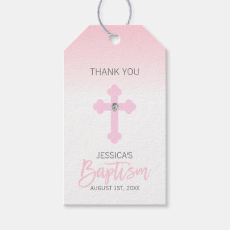 Elegant Baby Pink Cross THANK YOU Baptism Girl Gift Tags