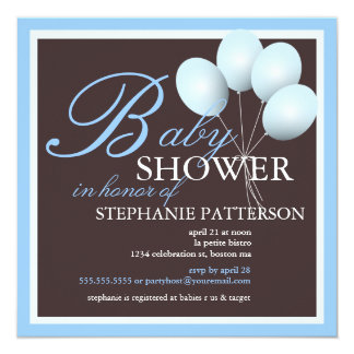 Elegant Baby Shower Blue Balloons Invitation