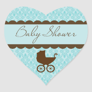 Elegant Baby Shower Carriage and Blue Damask Heart Sticker