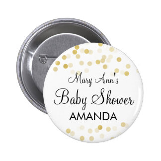Elegant Baby Shower Faux Gold Foil Glitter Lights 6 Cm Round Badge