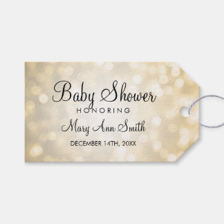 Elegant Baby Shower Favor Gold Glitter Lights Gift Tags