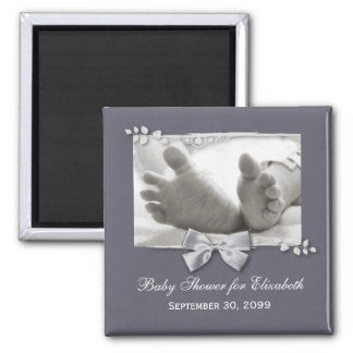 Elegant Baby Shower New Baby Feet With Silver Bow Square Magnet