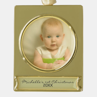 Elegant Baby's First Christmas Gold Plated Banner Ornament