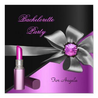 Elegant Bachelorette Party Pink Black Lipstick Card