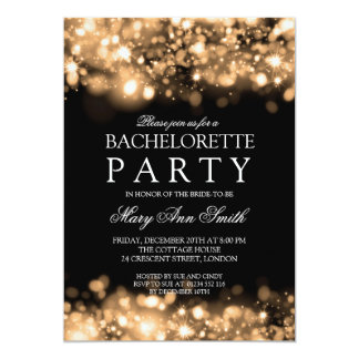Elegant Bachelorette Party Sparkling Lights Gold Card