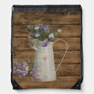 elegant barn wood  country vase wildflowers floral drawstring bags