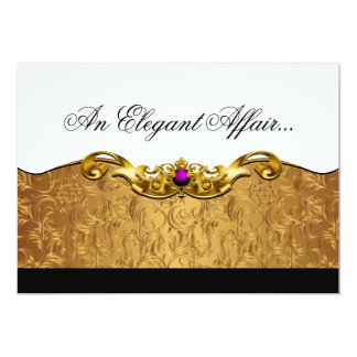 Elegant Baroque Black Tie Event (gold/amethyst) Card