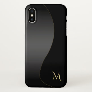 Elegant Basic Black Monogram iPhone X Case