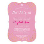 ELEGANT BAT MITZVAH mini rustic gold confetti pink 13 Cm X 18 Cm Invitation Card