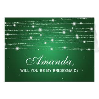 Elegant Be My Bridesmaid Sparkling Lines Emerald Greeting Card