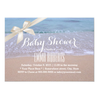 Elegant Beach Baby Shower with Ivory Ribbon 13 Cm X 18 Cm Invitation Card