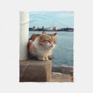 Elegant Beach Cat Fleece Blanket