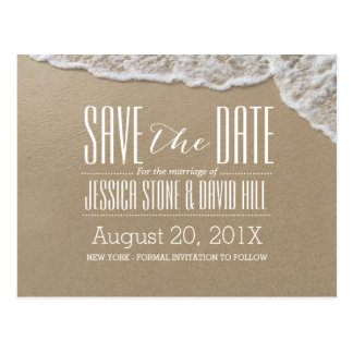 Elegant Beach & Sea Water Wedding Save the Date Postcard