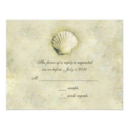 Elegant Beach Seashell RSVP Cards Custom Announcement
