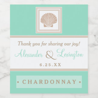 Elegant Beach Wedding With Seashell Choose Colors Wine Label