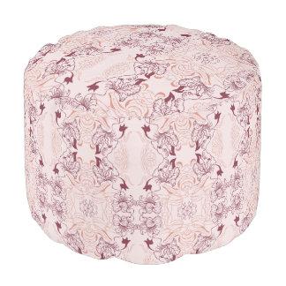 Elegant beautiful floral lace pink pattern pouf