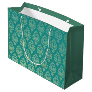 Elegant,beautiful,teal,green,damask,oriental,chic, Large Gift Bag