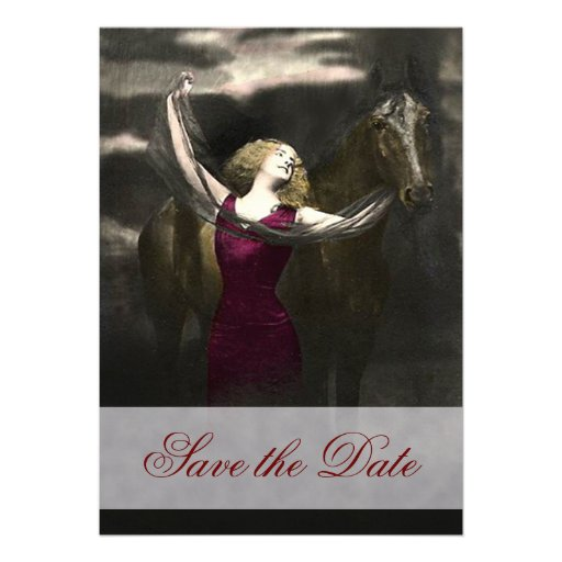Elegant Beauty and the black Stallion Invitations