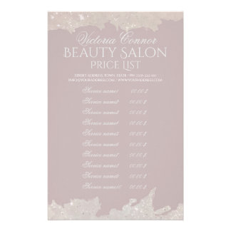 Elegant Beauty Salon Price List Pink Flyer