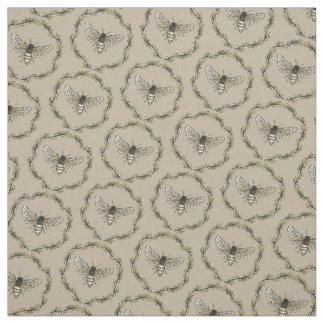 Elegant Bee Pattern Tan Cotton Fabric