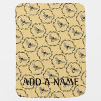 Elegant Bee Print Customizable Baby Blanket