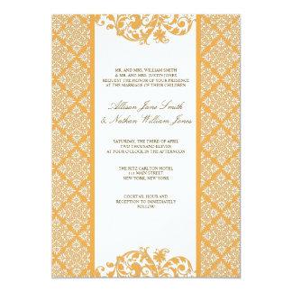 "Elegant Beeswax Yellow Damask Wedding Invitation 5"" X 7"" Invitation Card"