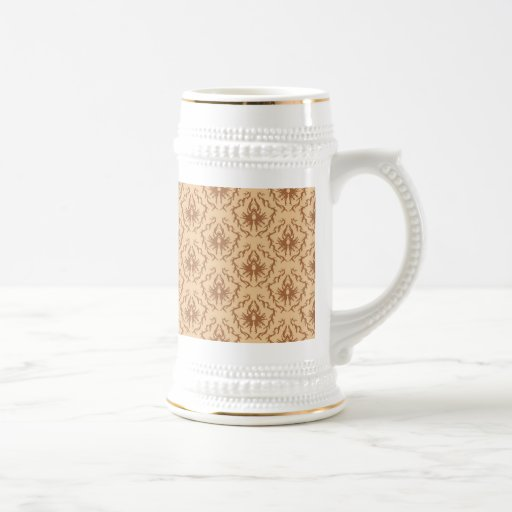 Elegant beige and brown damask pattern. coffee mugs