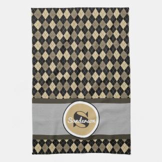 Elegant Beige Argyle w/Name Golf or Kitchen Towels