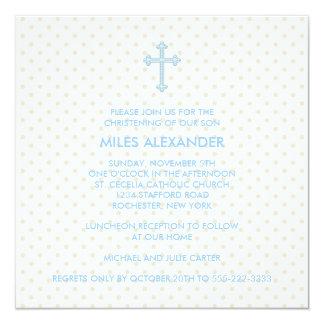 Elegant Beige Blue Cross Boys Christening Card