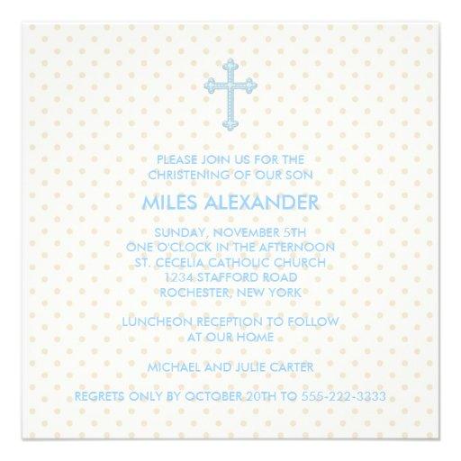 Elegant Beige Blue Cross Boys Christening Invitations