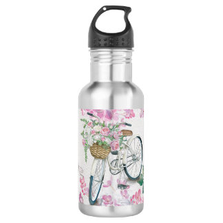 Elegant Bicycle and Flowers 532 Ml Water Bottle